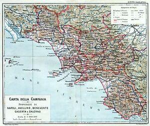 Cartina Campania Grande.Campania Nel 1896 Con Gaeta Cassino Grande Carta Geografica Passepartout 1896 Ebay