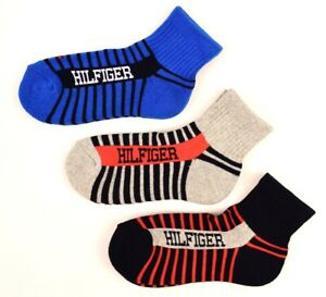 TOMMY-HILFIGER-Boys-039-Kids-039-3-pack-Striped-Quarter-Top-Socks-4-to-12-years