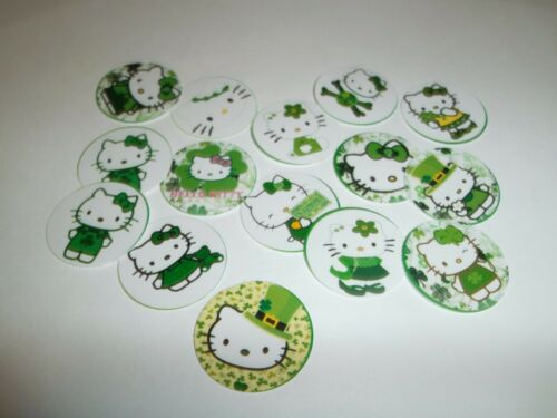 Pre Cut One Inch Bottle Cap Images Hello Kitty St Patrick Day Free Shipping