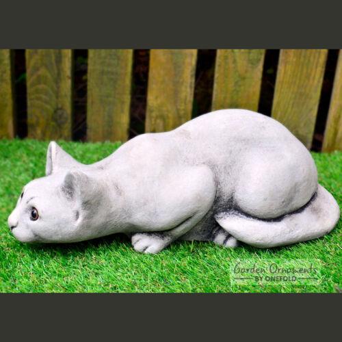 PROWLING CAT Hand Cast Stone Garden Ornament Sculpture Memorial ⧫onefold-uk