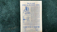 Lionel 148 Dwarf Signal Instructions Photocopy
