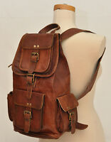 New Large Vintage Style Real Genuine Leather Bag Rucksack Backpack Dark Brown *