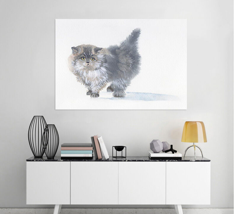 3D grey mollige Katze 333 Fototapeten Wandbild  BildTapete Familie AJSTORE DE