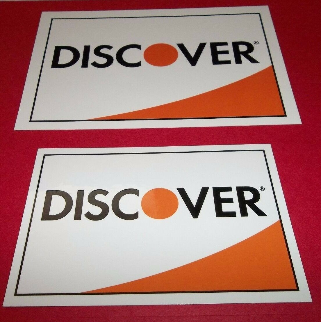 discover credit card stickers decals 1 large 1 medium 2 sided free