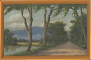 Radjimin-Framed-Mid-20th-Century-Oil-Tree-Path-with-Mountain-in-the-Distance