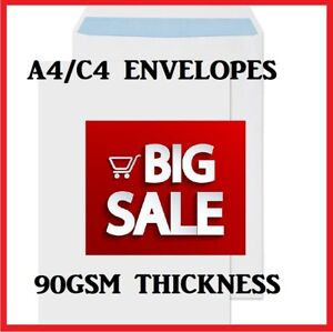 Quality-A4-C4-White-Plain-90GSM-Self-Seal-Envelopes-Strong-Paper-324MM-X-229MM