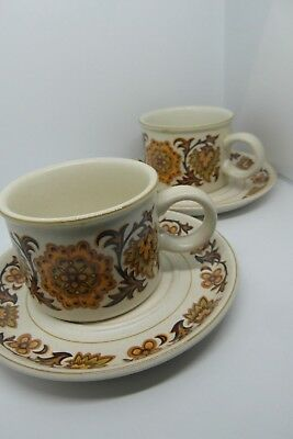 Midwinter Woodland Cups & Saucers x 2 1970 s Vintage Retro