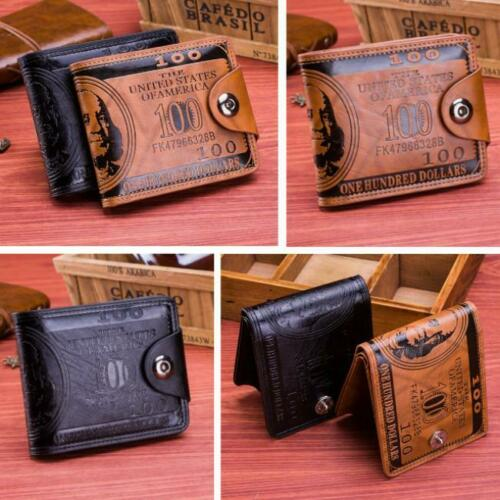 Chic Men Dollar Bill Wallet $100 Benjamin Wallet Button Wallet Bifold Wallet H