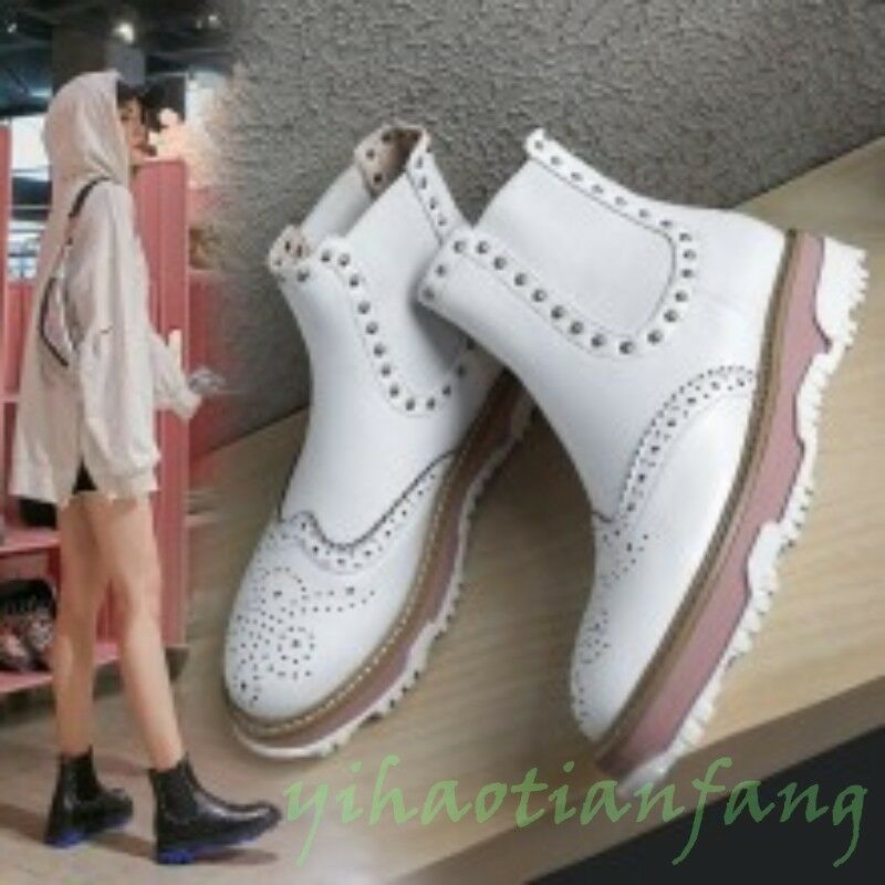 Hot New Fashion Occident Womens Brogue Carving Punk Rivet Ankle Boots Flats Ho