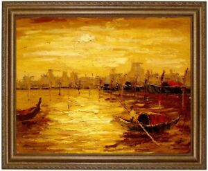 Painting, Beach, Fishing Boats Sunset Hand Painted Painting F: 50x60cm