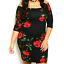 Womens-Plussize-Off-Shoulder-Black-Red-Rose-Bodycon-Midi-Party-Dress-1X-2X thumbnail 1