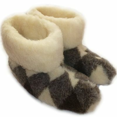 Cozy Foot, Womens, Ladies Mens Pure Sheep Wool Fleece Sheepskin Slipper Boots Pl Angenehm Bis Zum Gaumen