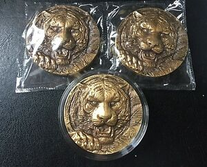 2015 Shanghai Mint Lunar TIGER Head Brass Medal 60MM High Relif Seal 3pcs//set