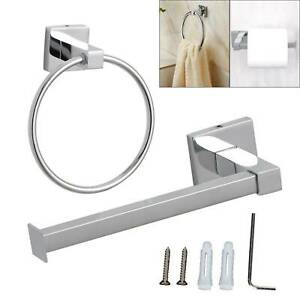 Square-Bathroom-Bar-Toilet-Roll-Holder-Towel-rack-High-Shine-Polished-two-set