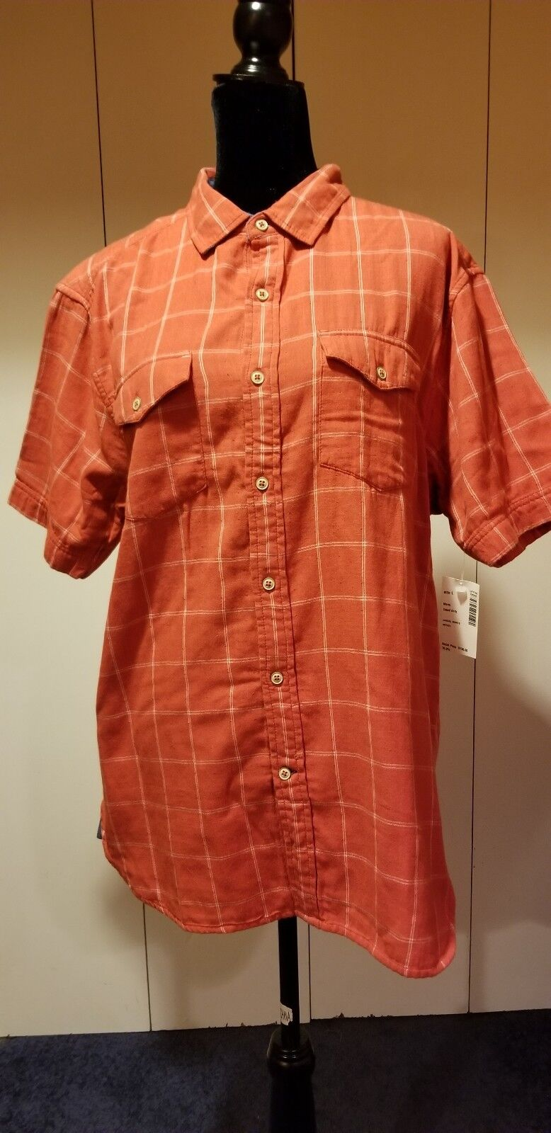 True Grit Polo Shirt Short Sleeve Mens Size L  Salmon Red Buffalo Buttons