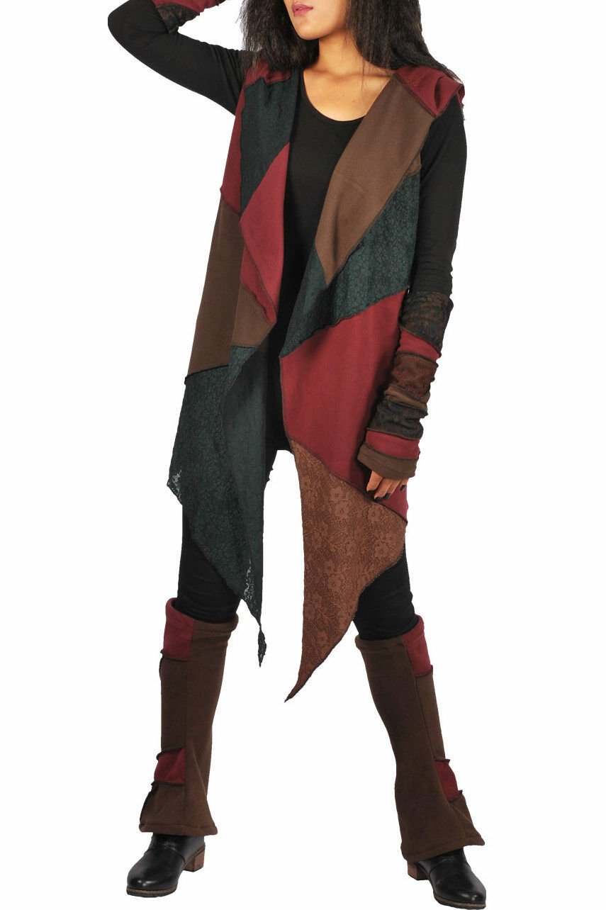New Bohemian Long Hooded Waistcoat Lace Fleece Pixie Hem up up up to Plus Größe   Genial Und Praktisch    Vorzugspreis    ein guter Ruf in der Welt  6d9388