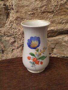 kleine-Meissen-Vase-blaue-Blume-Top-Zustand