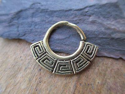 Boho Greek Fan Solid Brass Septum Ring Clicker Hanger Daith 14g
