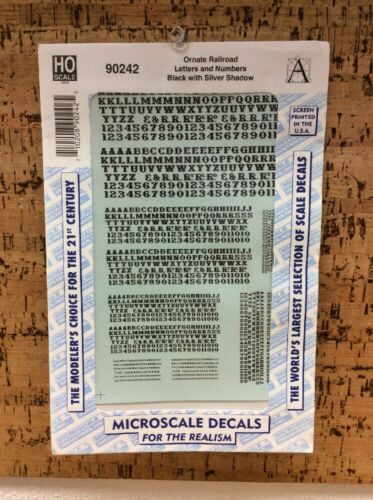 MICROSCALE DECAL HO SCALE 90242 Ornate Railroad Letters// Numbers Black// Silver