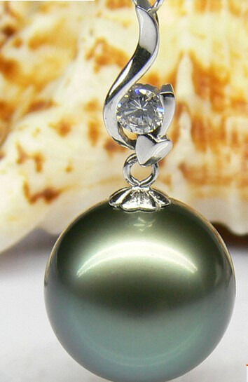 HUGE NATURAL 14MM TAHITIAN GENUINE BLACK PERFECT ROUND PEARL NECKLACE PENDANT