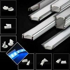 led aluprofil aluminium profile 2m 1m alu schiene led leiste f r led streifen ebay. Black Bedroom Furniture Sets. Home Design Ideas