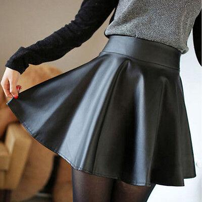 Women Faux Leather High Waist Skater Flared Pleated Short Mini Skirt Cheap