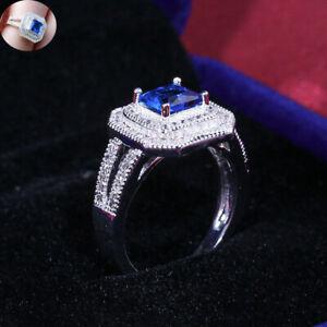925 Silver Plated Wings Sapphire Ring Women Ladies Blue Gemstone Wedding Jewelry