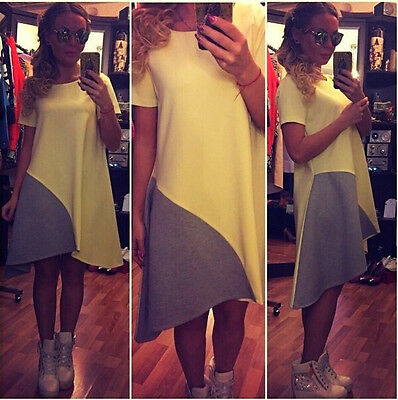 BOHO Cotton Long Top Blouse Summer Womens Short Sleeve Mini Dress Size 6-14