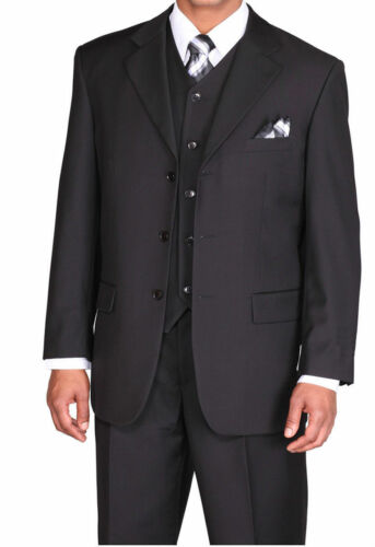 New Men/'s Basic 3 piece with vest Classic Luxurious Wool Feel  Black 5802V