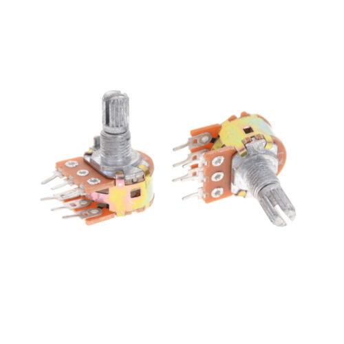 5pcs Dual Stereo Potentiometer Pot WH148 50K Ohm R Linear Shaft 15mm 6Pin XFB PL