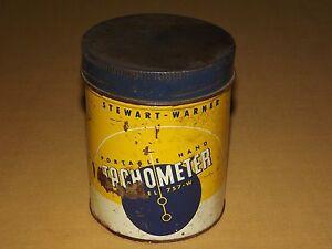 VINTAGE-STEWART-WARNER-PORTABLE-HAND-TACHOMETER-TIN-CAN