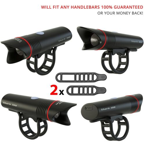 Cycle Torch 300 Lumens USB Rechargeable LED Bike Light Headlight Free Taillight