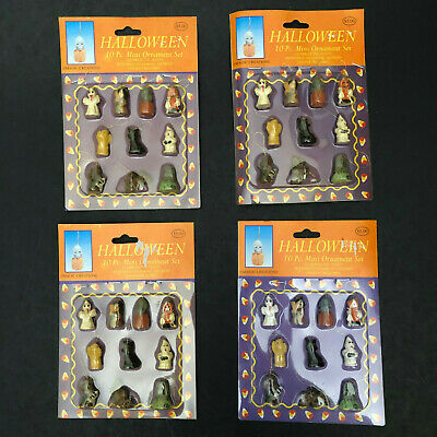 2 Halloween Mini Ornament Sets Vintage 90s Ghost Witch Mummy Cat Skull Tomb New!