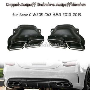 Schwarz-Doppel-Auspuff-Endrohre-Auspuffblenden-fuer-Mercedes-Benz-C-W205-C63