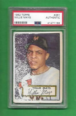 1952 Topps 261 Willie Mays Psa Authentic New York Giants Old