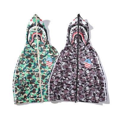 New Bathing Ape BAPE Camouflag Shark Head Hoodie Full Zip Jacket Sweatshirt coat