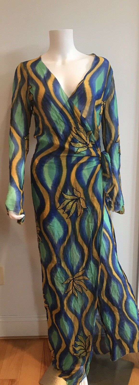 ORDINARY PEOPLE Exceptional RARE Dress 100% Silk Floral Beading Made In