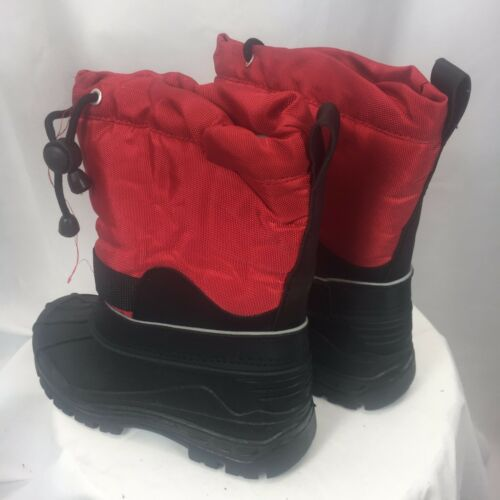 Boys Girls C*J Snow Proof Red//Black Hook /& Loop fasteners Faux Fur Lined Boots