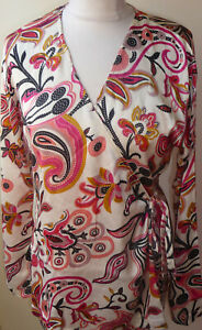 Ivory-Pink-Red-Black-Crossover-Paisley-Top-Size-16-18-Side-Tie-Tunic-Long-Sleeve