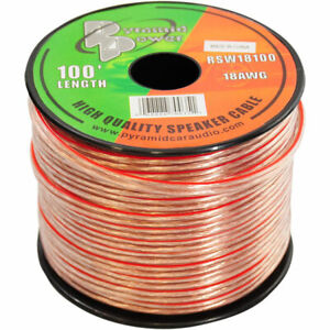 100-039-ft-Roll-18Ga-Clear-Car-amp-Home-Audio-Stereo-Speaker-Wire-Cable-18-Gauge-AWG