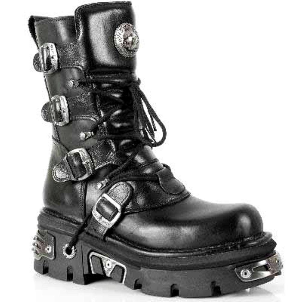 NEW Rock 373-S4 metallico nero pelle Goth Biker Fashion Elegante Rock stivali