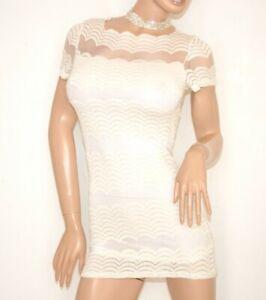 Femme Maillot Voilé Élégant Dentelle Brodée Blouse T Pull Haut E110 shirt Blanc IqnxttwRY