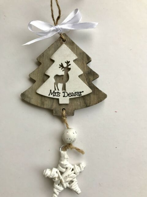 Personalised Wooden Christmas Tree Decorations For Sale Online Ebay