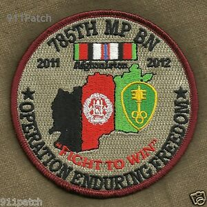 785th MILITARY POLICE BN 11-12 Afghanistan OEF Fight to Win US ARMY Patch