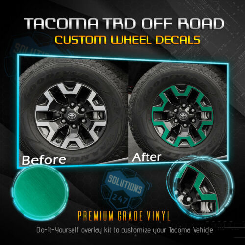 Fit 2016-2019 Toyota Tacoma TRD OffRoad Wheels Vinyl Decal Brushed Aluminum