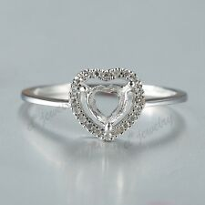 6mm Heart Cut Diamond Semi Mount Solid 14K White Gold Engagement Solitaire Ring