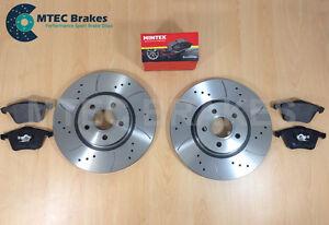 Ford-Focus-st225-2-5-Frontal-perforados-acanalado-Discos-De-Freno-Y-Mintex-Pastillas-De-Freno