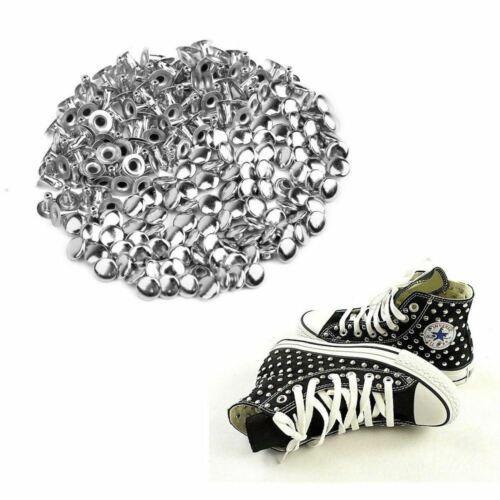 100pcs 6mm Round Mushroom Shaped Metal Rivets DIY Punk Style Leather Shoes Bag B