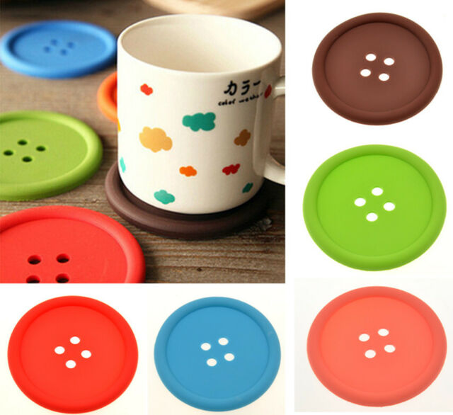 Hot Colourful Button Coaster Silicone Cup Holder Pad Mat Tableware Placemat LS87