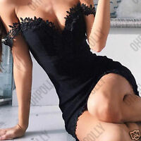 Womens Bodycon Lace Off Shoulder Evening Party Ladies Mini Dress